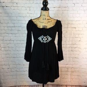 Charlotte Russe Gauze Off the Shoulder Mini Dress
